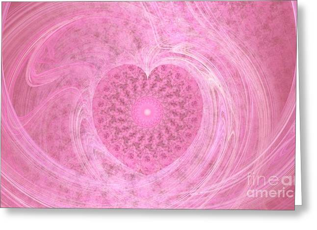 Fractal Love Greeting Card by Peggy Hughes