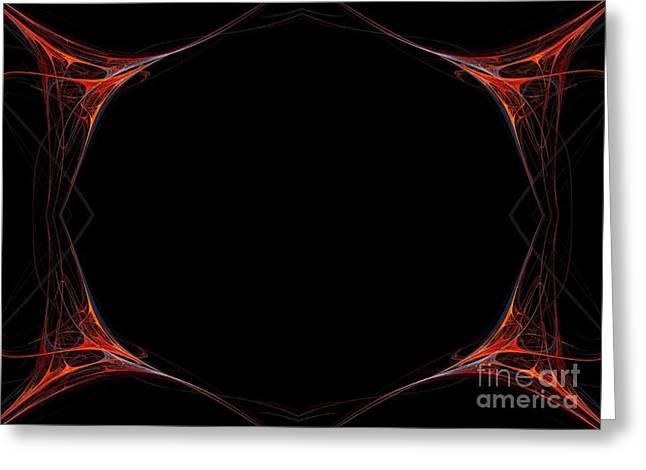 Greeting Card featuring the digital art Fractal Red Frame by Henrik Lehnerer