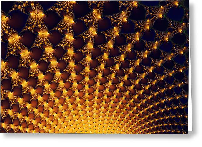 Fractal Yellow Golden And Black Firework Greeting Card by Matthias Hauser
