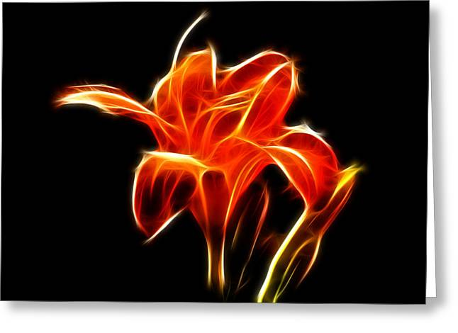 Fractaled Lily Greeting Card by Bill Barber