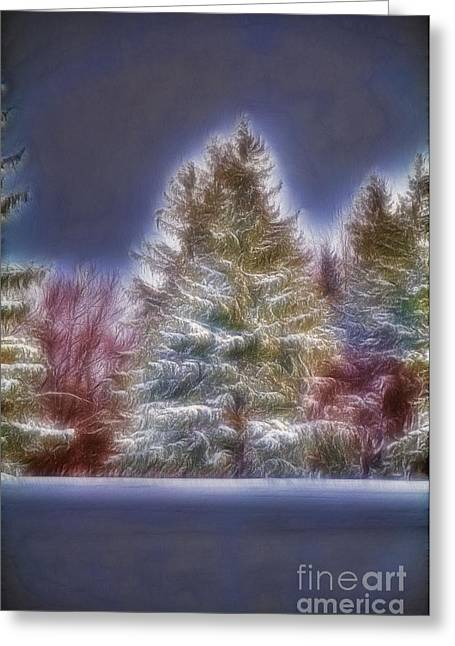Fractalius Winter Pines Greeting Card
