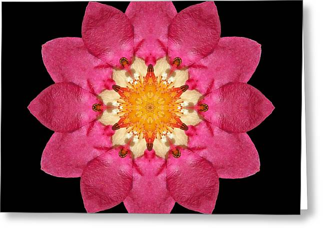 Greeting Card featuring the photograph Fragaria Flower Mandala by David J Bookbinder
