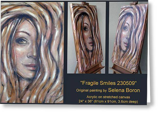 Greeting Card featuring the painting Fragile Smiles 230509 Comp by Selena Boron