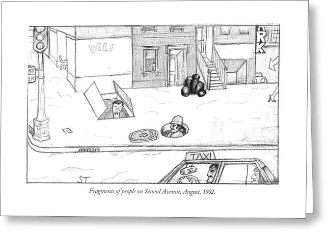 Fragments Of People On Second Avenue Greeting Card by Saul Steinber