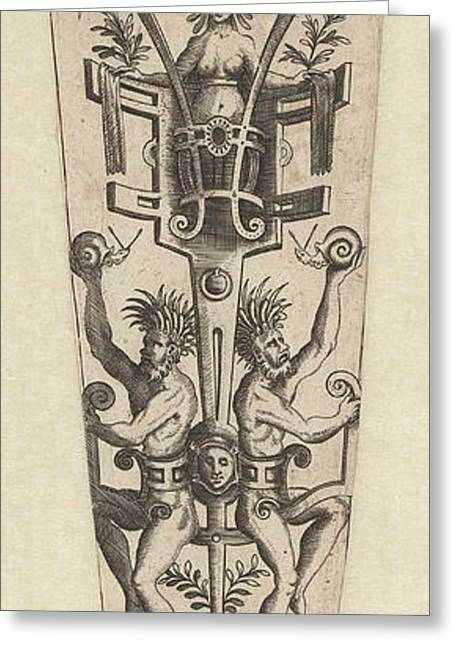 Frame Of Scroll With Two Satyrs, Anonymous Greeting Card