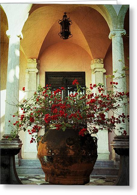 Framed Bougainvillea Greeting Card by Laurie Perry