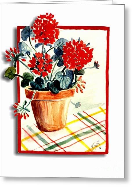 Framed Geranium Greeting Card