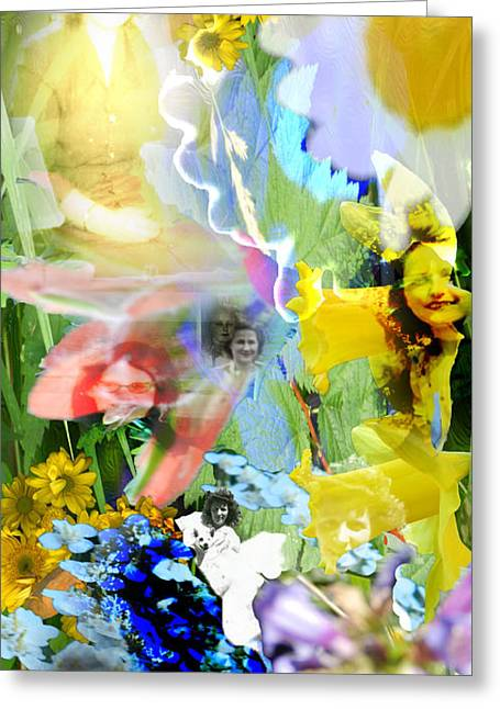 Greeting Card featuring the digital art Framed In Flowers by Cathy Anderson