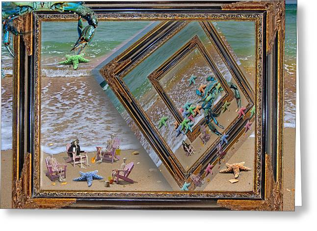 Framed Sea Stars Blue Crabs Skeletons Ocean Waves Greeting Card by Betsy Knapp