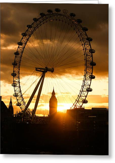 Framing The Sunset In London - The London Eye And Big Ben  Greeting Card by Georgia Mizuleva