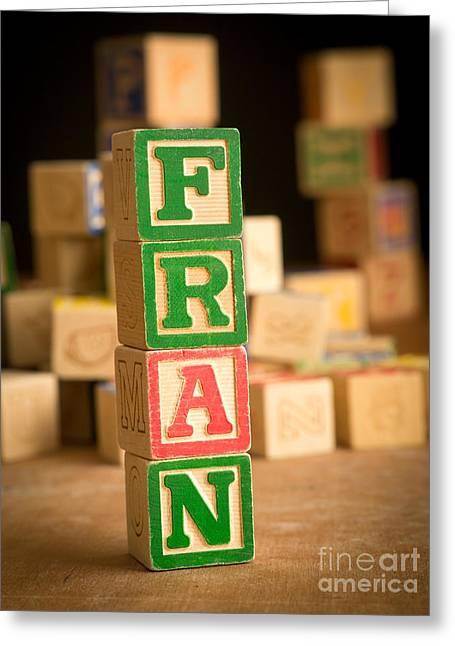 Fran - Alphabet Blocks Greeting Card by Edward Fielding