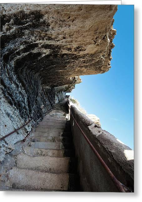 France, Corsica, Bonifacio, Escalier Du Greeting Card by Walter Bibikow