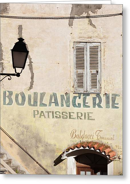 France, Corsica, Corte, Old Boulangerie Greeting Card by Walter Bibikow