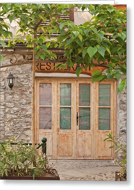 France, Corsica, Corte, Place Gaffori Greeting Card