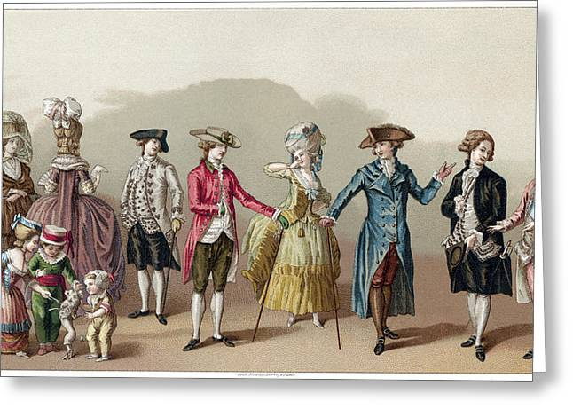 France Fashion, C1730 Greeting Card by Granger