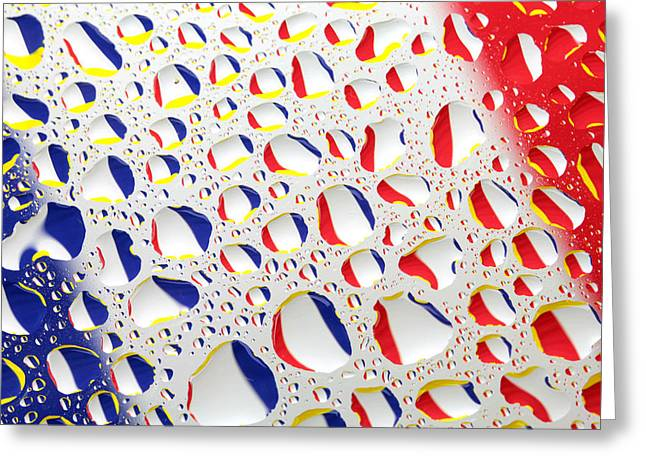France Flag In Water Drops Greeting Card