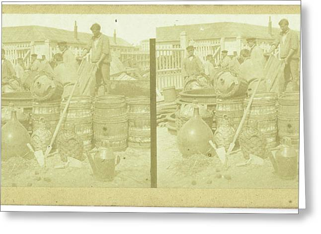 France, Men With Drums And Carboys, Anonymous Greeting Card