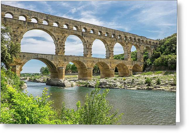 France, Nimes, The Pont Du Gard Is An Greeting Card by Emily Wilson