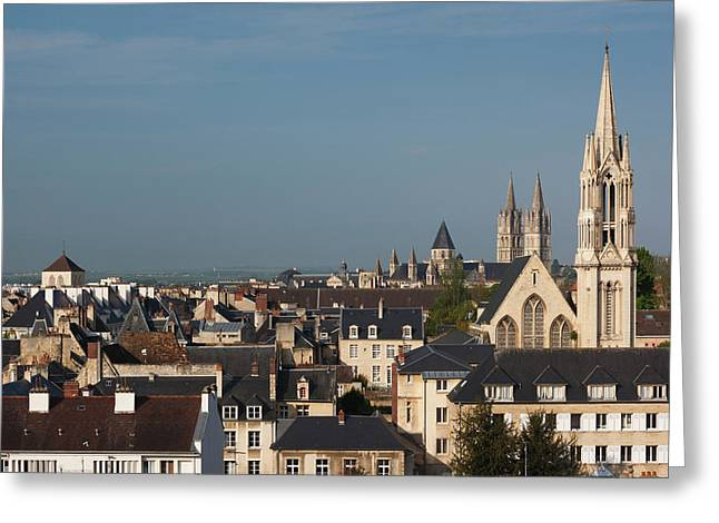 France, Normandy, Caen, Elevated City Greeting Card