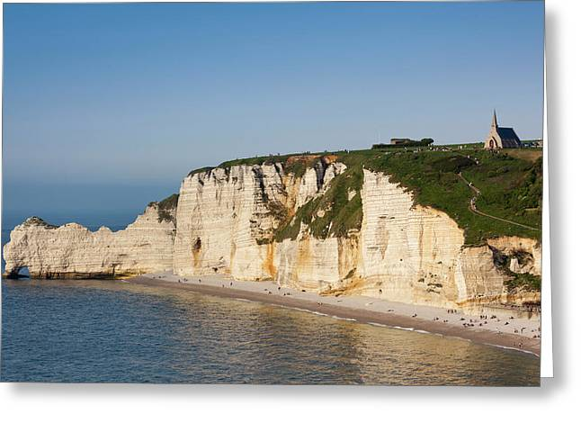 France, Normandy, Etretat, Falaise De Greeting Card by Walter Bibikow
