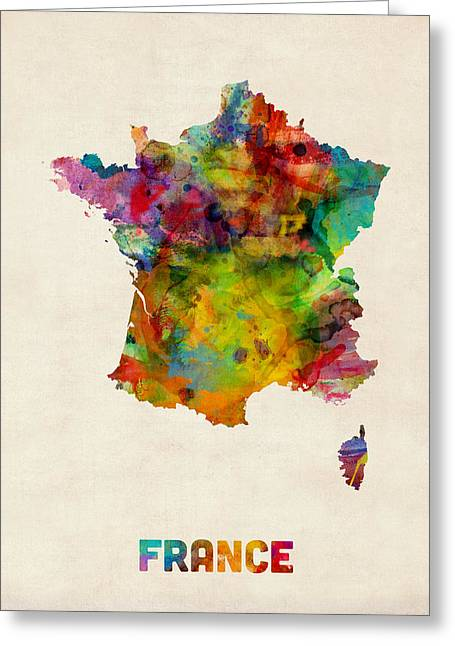 France Watercolor Map Greeting Card by Michael Tompsett