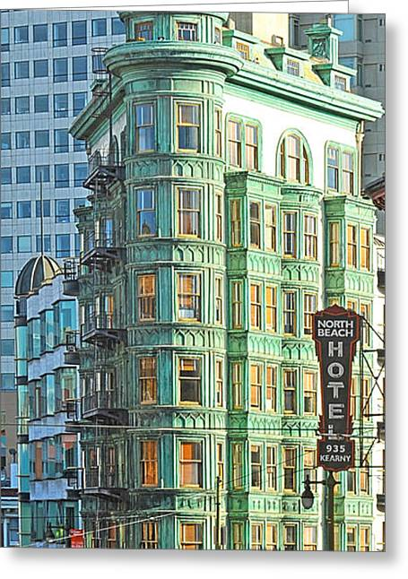 Francis Ford Coppola Columbus Tower In San Francisco Greeting Card by Artist and Photographer Laura Wrede