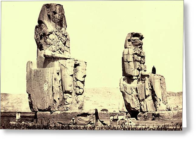 Francis Frith, The Statues Of The Plain, Thebes Greeting Card