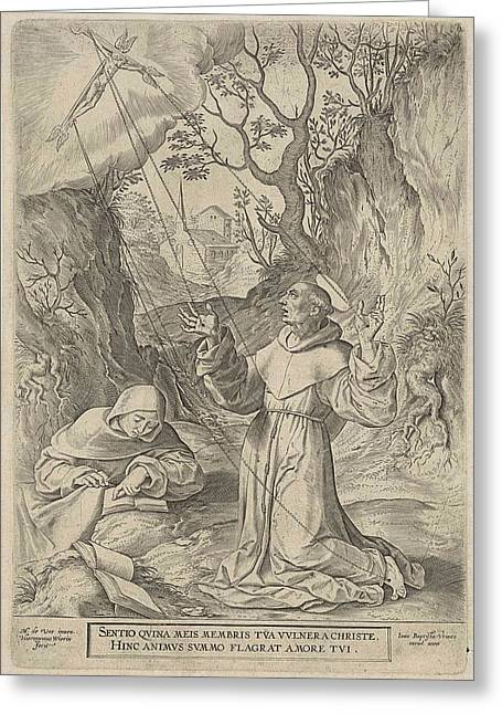 Francis Of Assisi Receiving The Stigmata Of Christ Greeting Card by Hieronymus Wierix And Johannes Baptista Vrints (i)