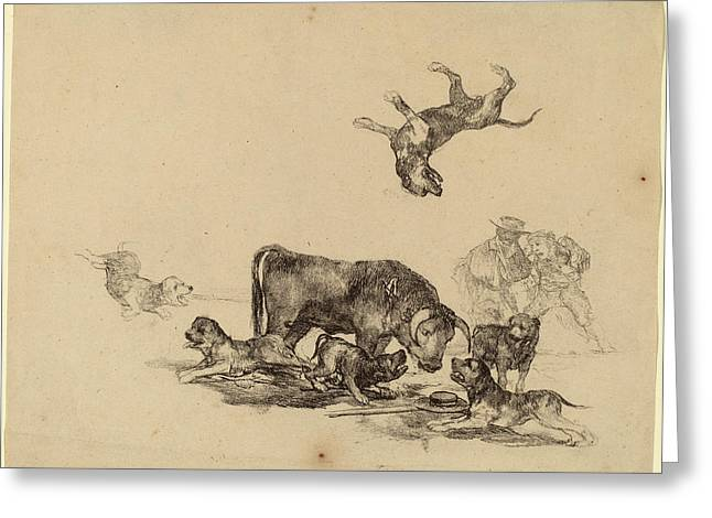 Francisco De Goya, Bull Attacked By Dogs Greeting Card by Quint Lox