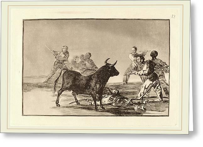Francisco De Goya, Desjarrete De La Canalla Con Lanzas Greeting Card by Litz Collection