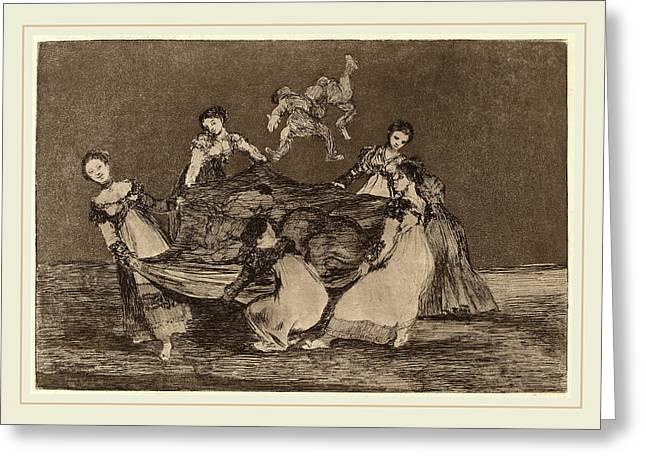 Francisco De Goya, Disparate Femenino Feminine Folly Greeting Card by Litz Collection