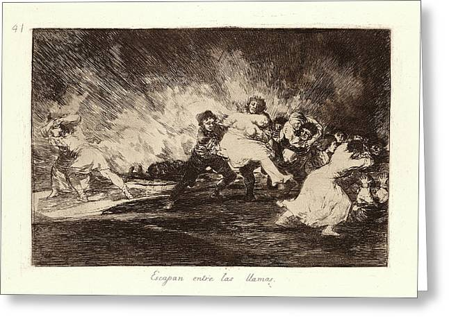 Francisco De Goya Spanish, 1746-1828. They Escape Greeting Card by Litz Collection