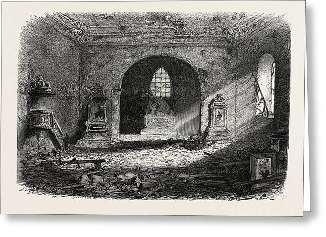 Franco-prussian War Damage In The Church Of Perouse Greeting Card