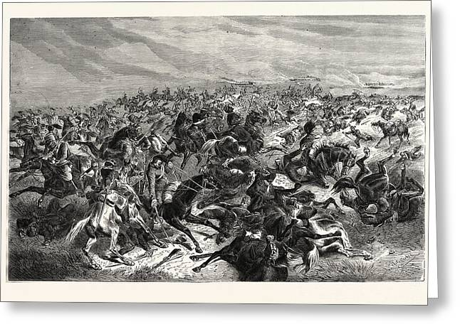 Franco-prussian War Rapid Fire Of The Prussian Infantry Greeting Card by French School