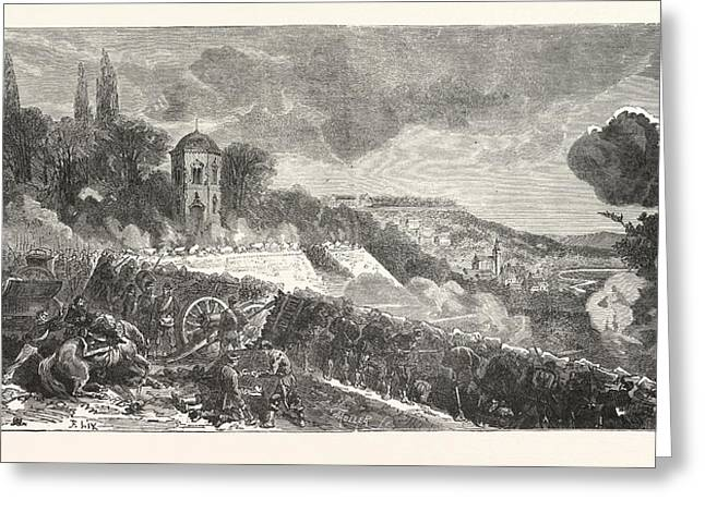 Franco-prussian War Scene From The Defense Of The Park Greeting Card