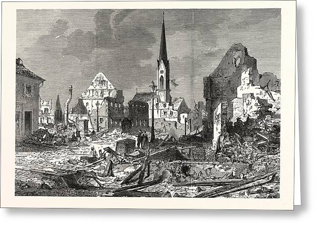 Franco-prussian War The Devastation In The Main Street Greeting Card by English School