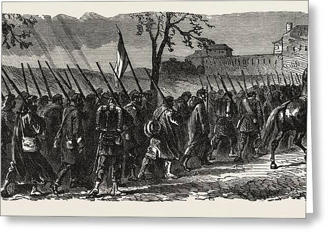Franco-prussian War The French 66th Regiment On The March Greeting Card