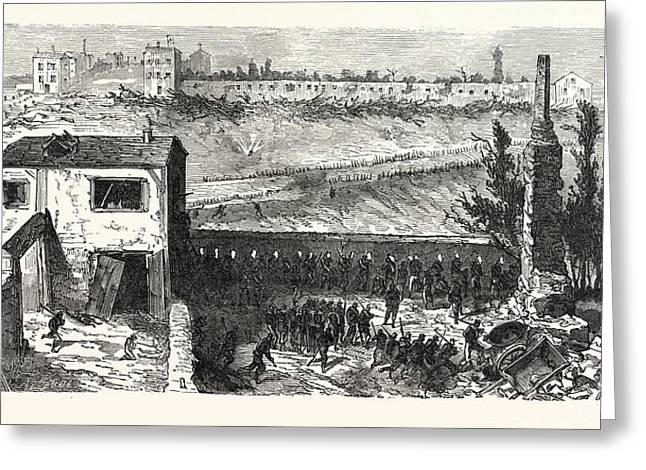 Franco-prussian War View Of The Soap Factory In Le Bourget Greeting Card by French School