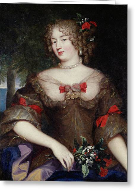 Francoise De Sevigne 1646-1705 Countess Of Grignan Oil On Canvas Greeting Card by Pierre Mignard