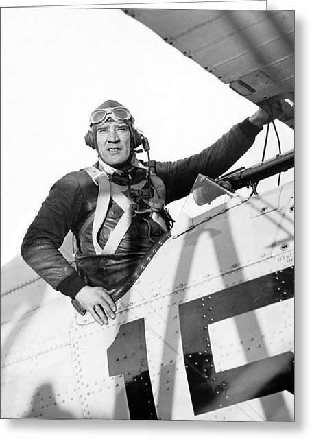 Frank Hawks In Cockpit Greeting Card by Underwood Archives