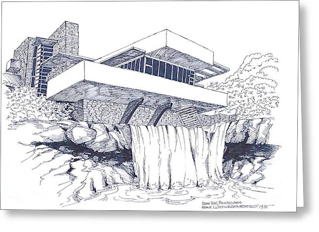 Frank Lloyd Wright Falling Water Architecture Greeting Card