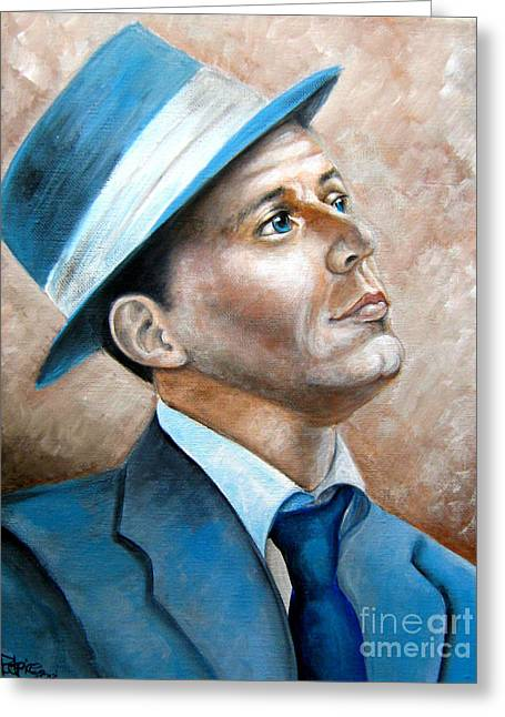Greeting Card featuring the painting Frank Sinatra Ol Blue Eyes by Patrice Torrillo