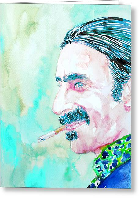 Frank Zappa Smoking A Cigarette Watercolor Portrait Greeting Card