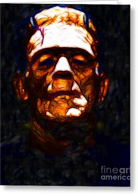 Frankenstein - Abstract Greeting Card by Wingsdomain Art and Photography