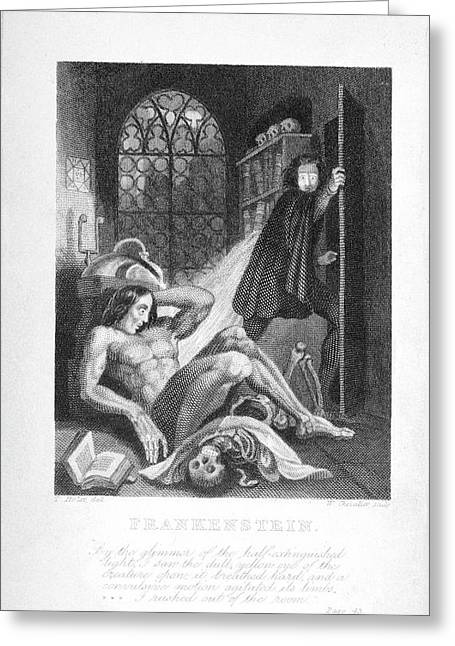 Frankenstein And His Creature Greeting Card by British Library