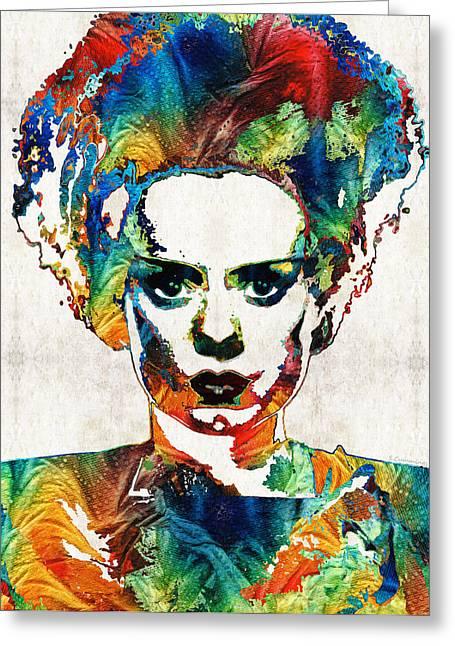Frankenstein Bride Art - Colorful Monster Bride - By Sharon Cummings Greeting Card