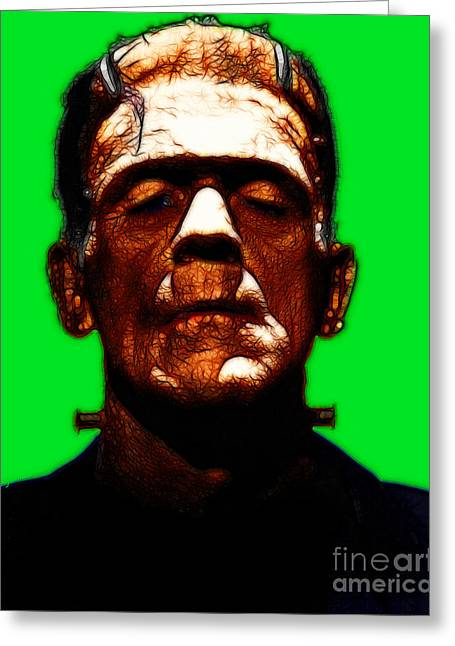 Frankenstein - Green Greeting Card by Wingsdomain Art and Photography