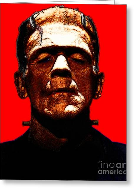 Frankenstein - Red Greeting Card by Wingsdomain Art and Photography