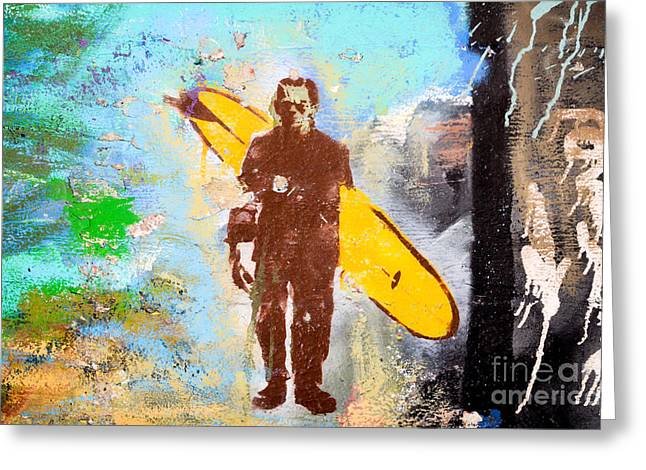 Frankenstein Surf Graffiti Greeting Card by Amy Fearn