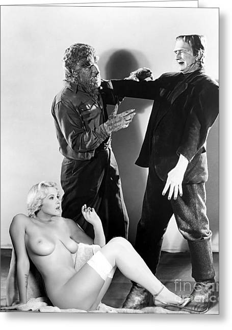 Frankenstein Werewolf Fantasy Nude Greeting Card by Jorge Fernandez